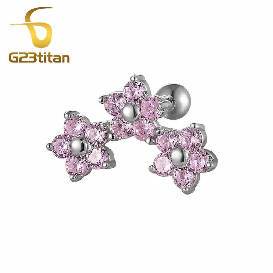 16G Titanium Mens Womens Stud Earrings Cartilage Ear Piercings Helix Tragus Barbell Pink Crystal Labret Studs Body Jewelry