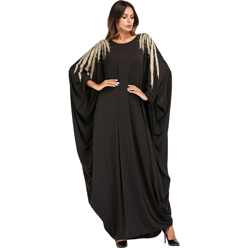 Elegant Women Muslim Abaya Dress Batwing Sleeve Appliques Beading Plus Size Black Moslim Djellaba Jilbab Dress