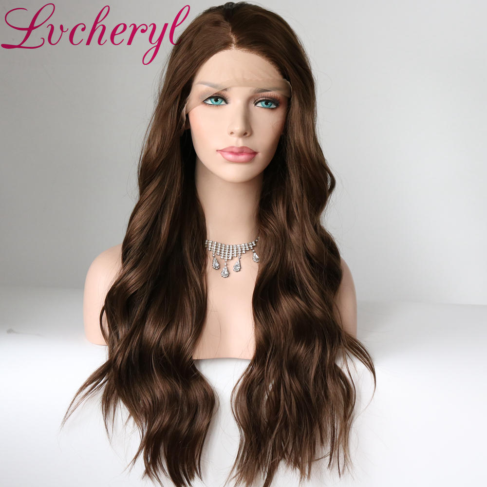Lvcheryl Long Heat Resistant Synthetic Lace Front Wigs Brown Hair Wigs Natural Wave High Temperature Fiber