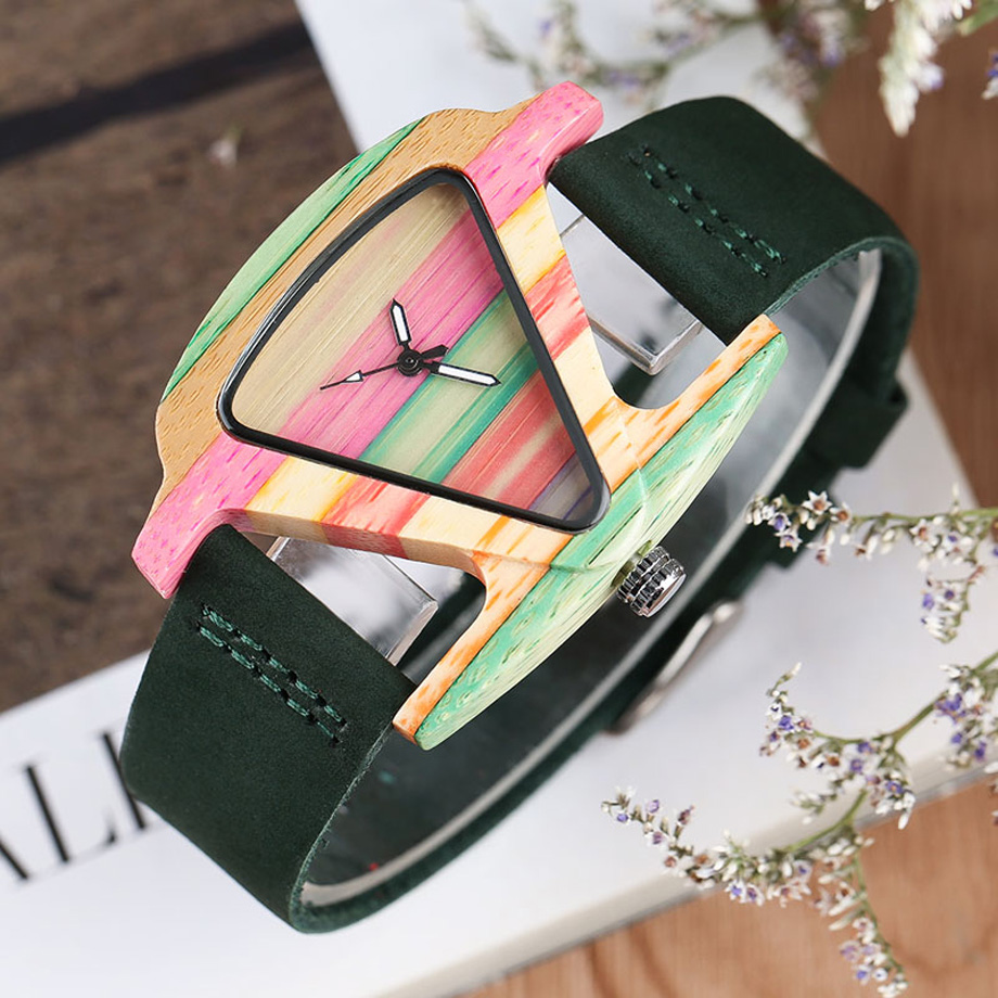 Creative Women Wood Watches Unique Colorful Wooden Triangle Hollow Quartz Wristwatch Ladies Elegant Fashion Genuine Leather Hour (8)