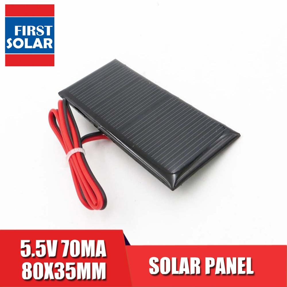 5.5V 0.39Watt  Solar Panel Polycrystalline Silicon DIY Battery Charger Small Mini Solar Cell Cable Toy 5.5V Volt 5v