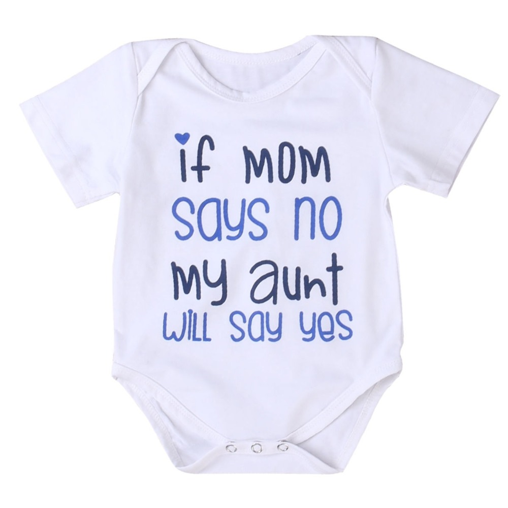 DERMSPE Baby Romper Aunt Baby-Boys-Girls Short-Sleeve Newborn Summer Letter If Yes Say title=