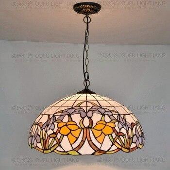 Đường kính 50 CM Tiffany Mục Vụ Mandala ánh sáng mặt dây chuyền cafe bar phòng khách thanh phòng ăn phòng ngủ lamp