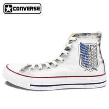 Jiyuu no Tsubasa White Wwoman Man Sneakers Anime Converse All Star Attack On Titan Wings Design Hand Painted Shoes Men Women