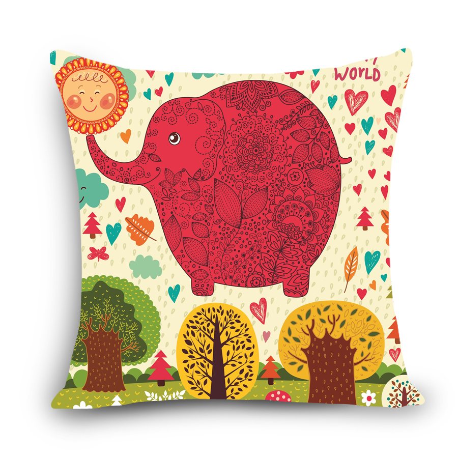 online get cheap elephant kids chair aliexpresscom  alibaba group - cartoon decorative pillow cotton linen cushion cover elephant print kidslovely home sofa car seat back
