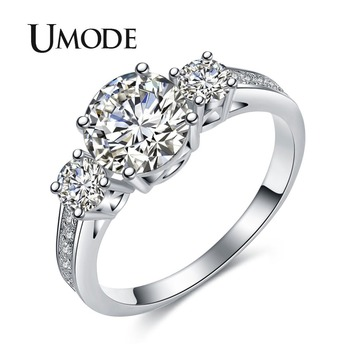 fe2c51b94aaa UMODE romántico tres piedra Anillos de Compromiso de oro blanco Color CZ  boda Vintage mujer anillos de la joyería para las mujeres Bijoux UR0325