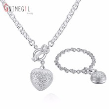 GNIMEGIL Wholesale Classic Silver Plated Heart Key Charm Pendant Necklace Bracelet Jewelry Sets For Women Wedding