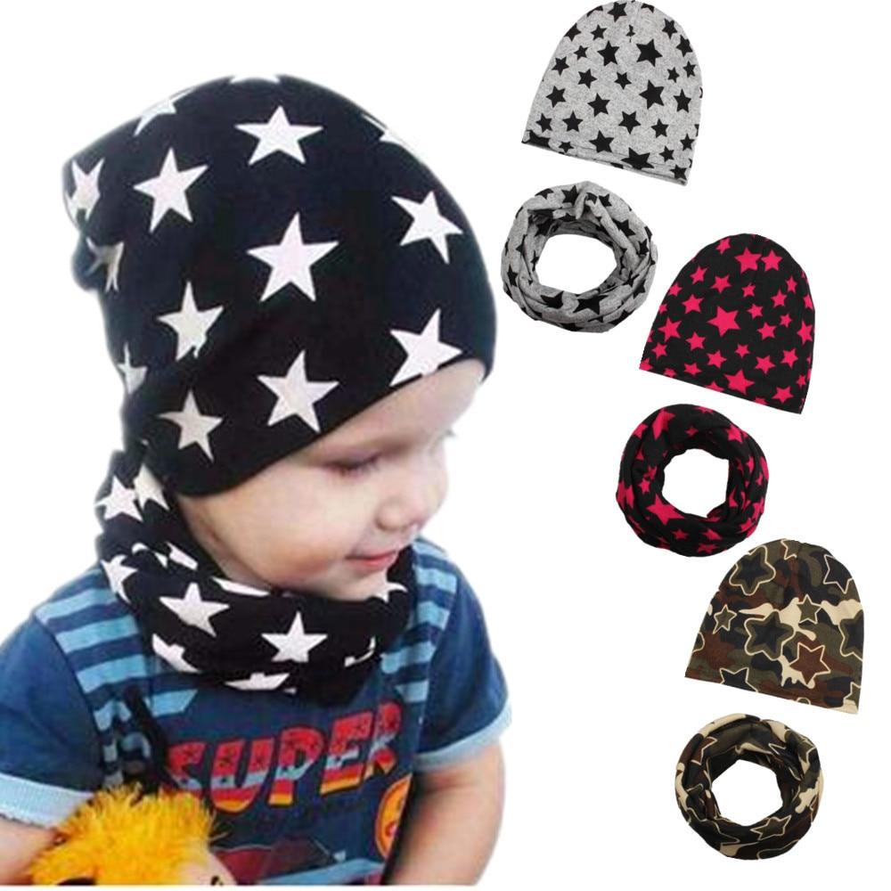 Star Pattern Baby Hat + Scarf Cute Baby Cap For Boys Girls Children Soft Warm Cotton Baby Beanie O Ring Neckerchief Scarves