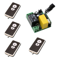 New AC220V 1CH RF Wireless Mini Switch Relay Receiver With Black Case 4pcsTransmitters For Appliances Gate