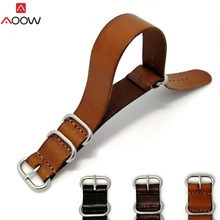 AOOW ZULU Leather Watchband NATO Watch Band Strap 18mm 20mm 22mm for Men Women Accessories Sliver Ring Buckle Replacement