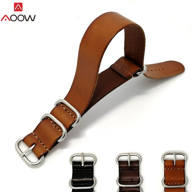 AOOW ZULU Leather Watchband NATO Watch Band Strap 18mm 20mm 22mm for Men Women W