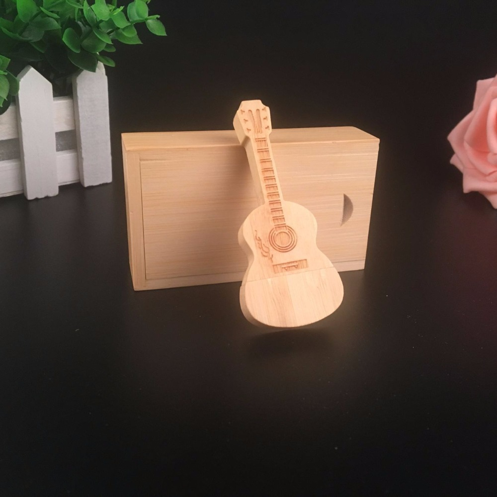 Wooden Maple Guitar usb with box USB 2.0 Memory flash stick pen drive
