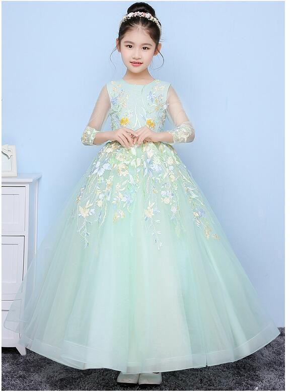 Girls Pageant Long Formal Dresses 2017 Long Sleeve Gauze Gowns Flowers Girls Princess Tutu Dress Kids Wedding Party Dress Green g084sn03 v 1 inch industrial lcd tft lcd display screen 800 600 wled 8 4inch