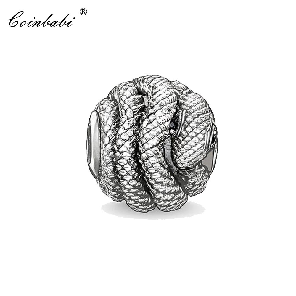 Bead Charm Snake, Thomas 925 Silver TS Crimp Jewelry Findings Component For Women Men Silver Gift Fit Karma Bracelet Necklace