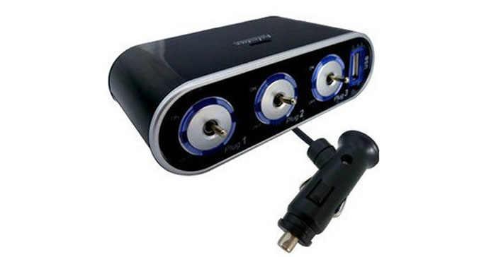 Для 3-х полосная тройной автомобильный разветвитель прикуривателя 12 V/24 V + USB + переключатель для honda crv 2008 civic 2006-2011 Город