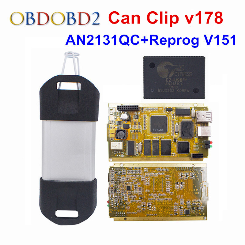CYPERSS AN2131QC Full Chip For Renault Can Clip V178 + Reprog V151 Auto Diagnostic Interface Gold PCB For Renault 1998-2017 2018 newest v178 for renault can clip full chip gold cypress an2135sc 2136sc chip nec relay obd2 interface diagnostic scanner