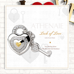 Image 2 - ATHENAIE 925 Silver with Pave Clear CZ Lock of Love Charm Beads Fit All European Bracelets Gift For Christmas , Valentines Da