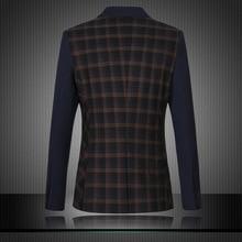 6XL Blazer Men Large Size Business Dress Blazers Stitching High Quality Tide Leisure Jacket Men Cotton Mens Plaid Suits