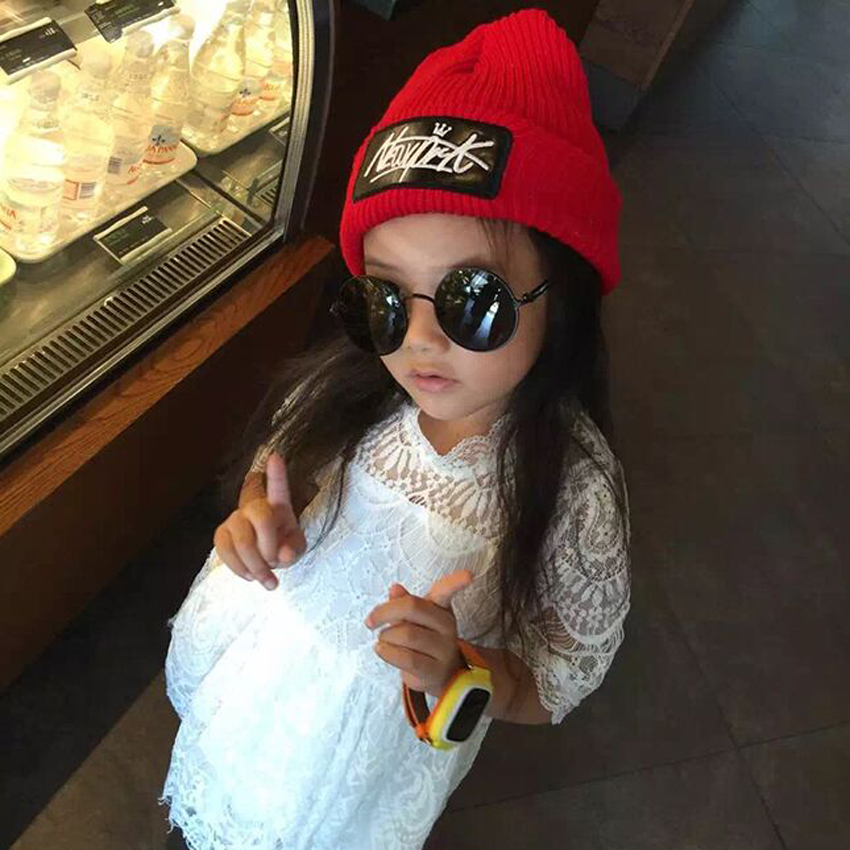 1 Pcs 2015 Hot Sell Leather Label Letter NEWYORK Parent-child Knitted Cap Autumn Winter Warm Skullies Beanies Hats For Women
