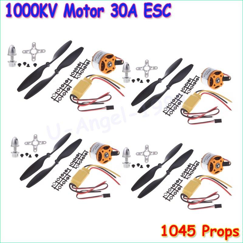 4 set/lot a2212 1000kv outrunner Motores + 30a ESC + 1045 Hélices (1 par) quad-rotor set para los aviones de RC multicopter