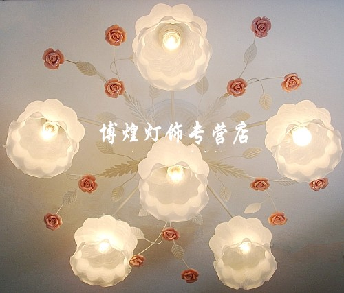 European-style garden living room Romantic Restaurants white wrought iron pink ceramic flowers glass lampshade Ceiling Lamp c169