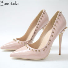 98e0f819a8ea Beertola New Nude Pink Pumps Woman Super High Heels Studded Rivets Pointed  Toe Sexy Shoes Woman