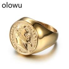 Olowu, круглые кольца в форме головы человека, роскошные ювелирные изделия для мужчин, винтажное Золотое кольцо из титана и нержавеющей стали, металлические вечерние кольца