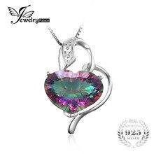 Jewelrypalace nueva romance corazón 8ct rainbow fuego mystic topaz colgante de plata de ley 925 mujeres joyería de moda sin cadena
