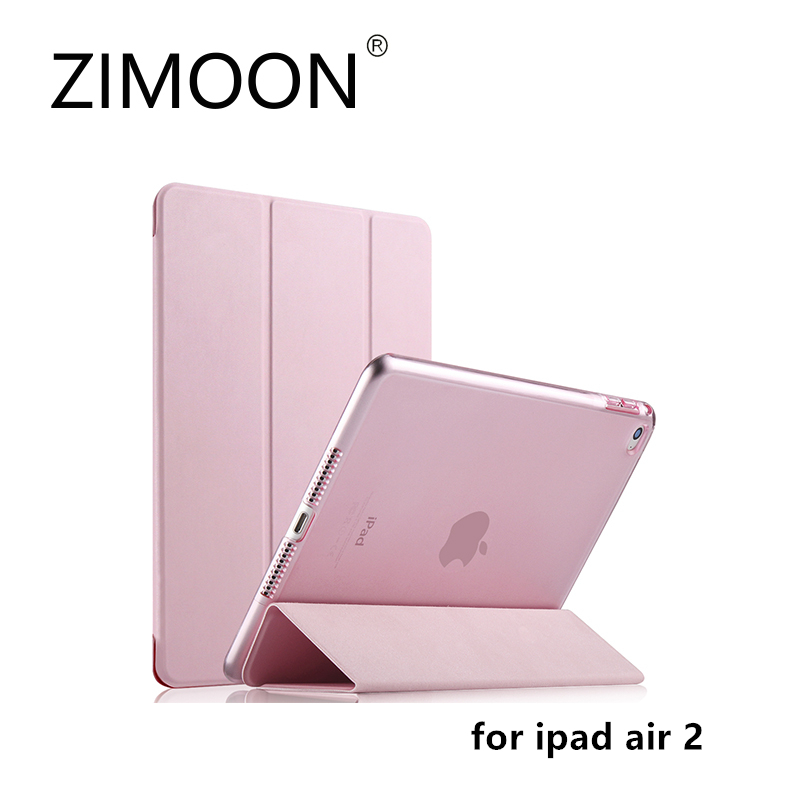 ZIMOON New Case For Apple iPad Air 2 Ultra Slim Tri-fold PU Leather Smart Cover With Transparent Hard Back For iPad 6 women s winter hat new real mink fur pom fluffy ball hat cap fox fur ball mink fur fashion russian cap hat for women dhy17 20
