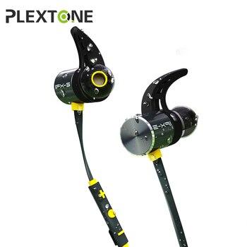 Plextone bx343 블루투스 헤드폰 ipx5 방수 이어 버드 마이크 넥 밴드 스포츠 무선 이어폰 휴대 전화 헤드셋