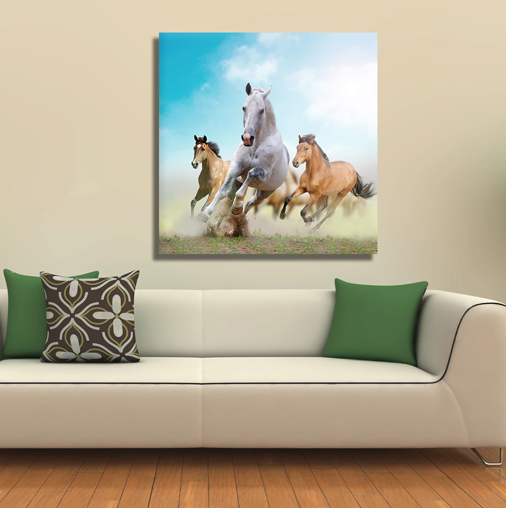 708ee9e2754 Running Horses Canvas Wall Hanging Modern Animal Canvas Wall Art Wall  Stickers for Home Decor Wall Decor-in Painting   Calligraphy from Home    Garden on ...