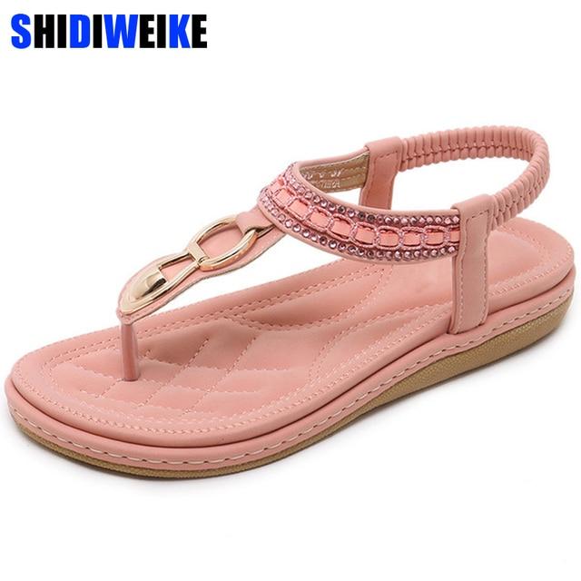 f7448b196c Discount Simple Women Flat Sandals Summer High Quality Bohemian ...