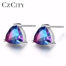 CZCITY Luxury Rainbow Topaz Stud Earrings Real 100% 925 Sterling Silver Fashion Women Earring Jewelry Wholesale czcity brand elegant petal delicate women 925 sterling silver stud earrings for women genuine silver jewelry gift