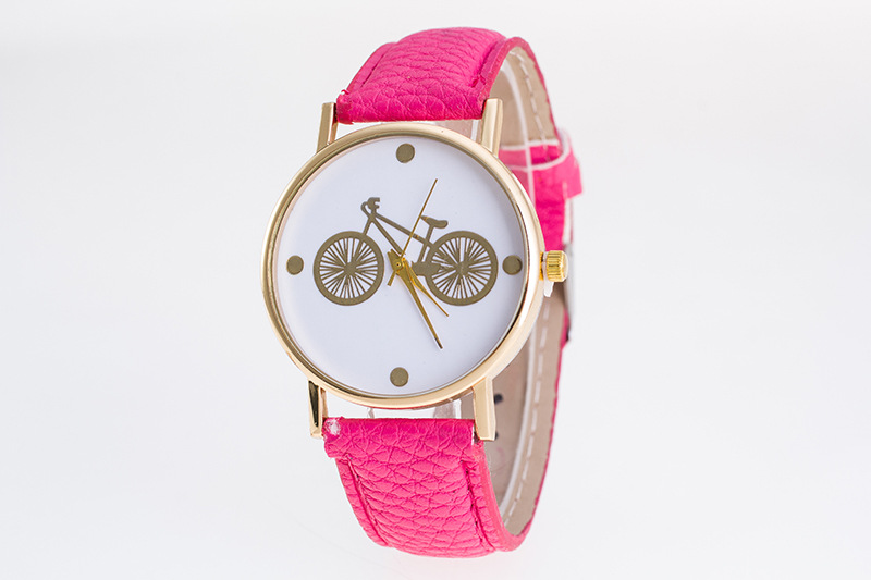 XG614 Casual Womens Quartz Wristwatches Leather Womens Bracelet Watches Lovely Bicycle Relogio Feminino Grils Clock Gift