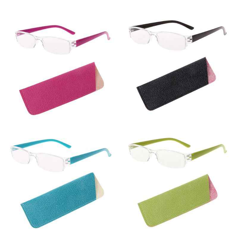 Unisex Lightweight Clear Slim Fashion Rimless Reading Glasses 1.00-4.00 Diopter Eyewear With Leather Case