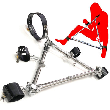 Stainless Steel Triangle Open Leg Spreader Bar Leather Restraints Collar Handcuffs Fetter Ankle Cuffs Adult Bondage BDSM Sex Toy