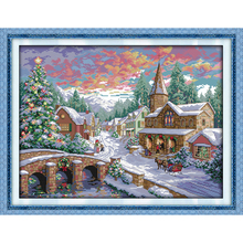 Everlasting love Christmas Snowscape(2) Ecological cotton chinese Cross Stitch 11 14CT stamped Printed New store sales promotion