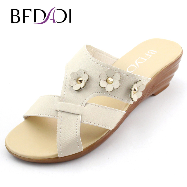 de91b891cfe664 BFDADI 2016 Summer new fashion lady Pure color flower decoration female  wedges sandals slippers women sandals