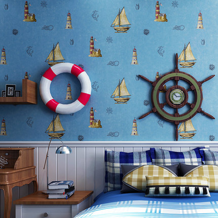 Top quality Mediterranean non-woven wallpaper children's room blue sailboat wallpaper boys and girls bedroom wallpaper roll non woven luminous wallpaper roll stars and the moon boys and girls children s room bedroom ceiling fluorescent home wallpaper