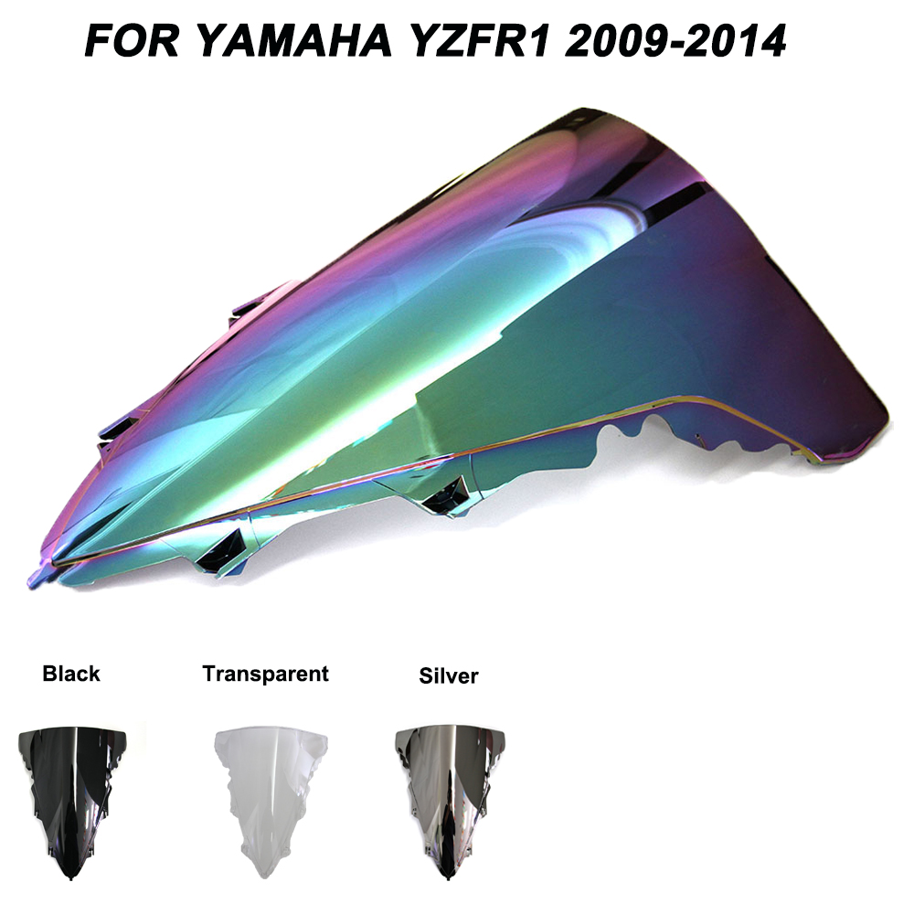 Motorcycle Motorbike Windshield Double Bubble Windscreen Wind Deflectors For Yamaha YZFR1 YZF R1 Yzf R1 2009-2014 2009 2010 2014
