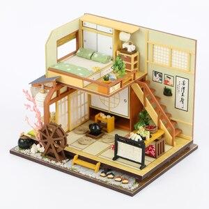 Миниатюрный Кукольный домик в японском стиле, мебельные наборы, деревянные кукольные домики, со светодиодными лампами, игрушка-головоломка...