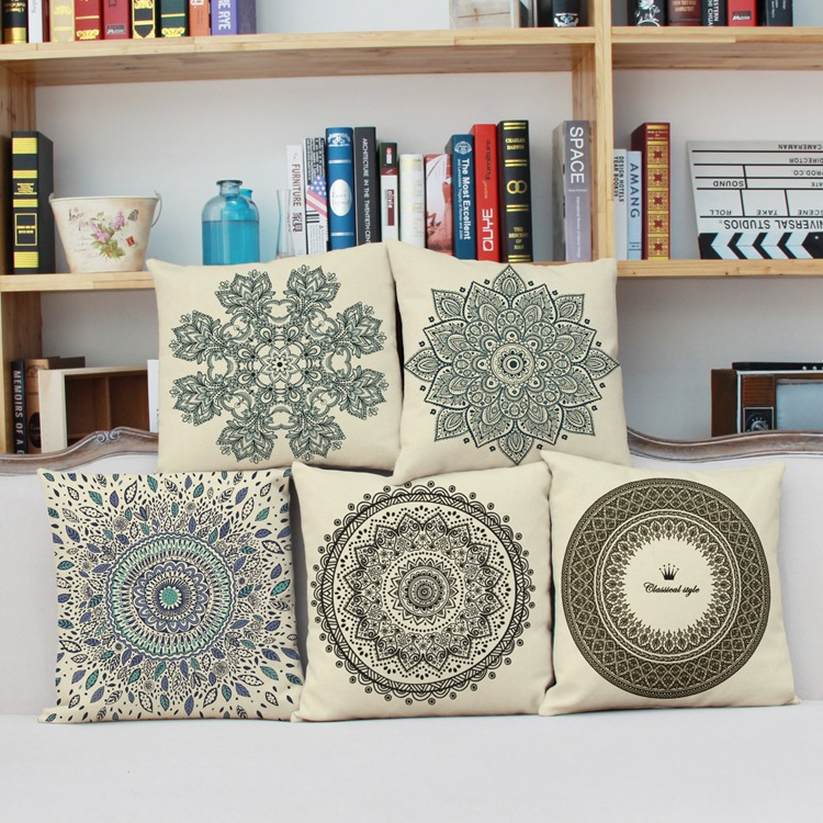 New Classical Printed Mediterranean Style Cotton And Linen Pillow Cover Car Chair Sofa Home Decoration Cushion Cove