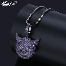 MISSFOX Hip Hop Purple Emo Amethyst Pendant 24K Gold Plated AAA Cubic Zirconia Nightmare Before Christmas Personalized Necklace(China)