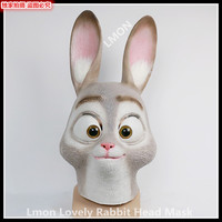 Free Shipping Halloween Christmas Party Cosplay Realistic Rabbit Mask Animal Full Face Head Mask Funny Grey Rabbit Mask in Stock