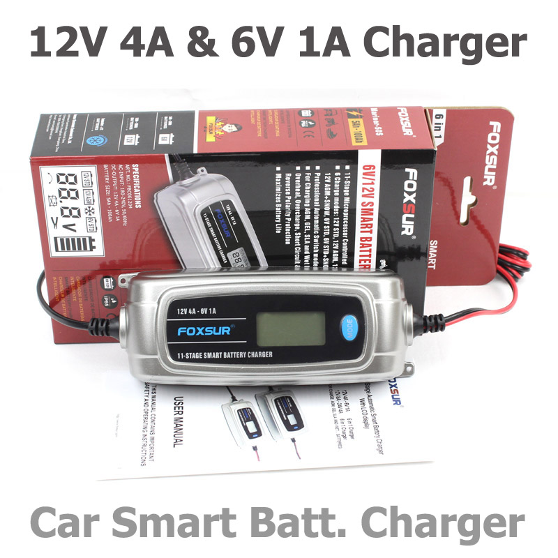 FOXSUR 6V 12V 11-stage Car Battery Charger Lead Acid Rechargeable Battery Automatic Intelligent Pulse Charger with LCD display automatic car battery charger intelligent 6v 12v full automatic electric car battery charger for lead acid battery us plug