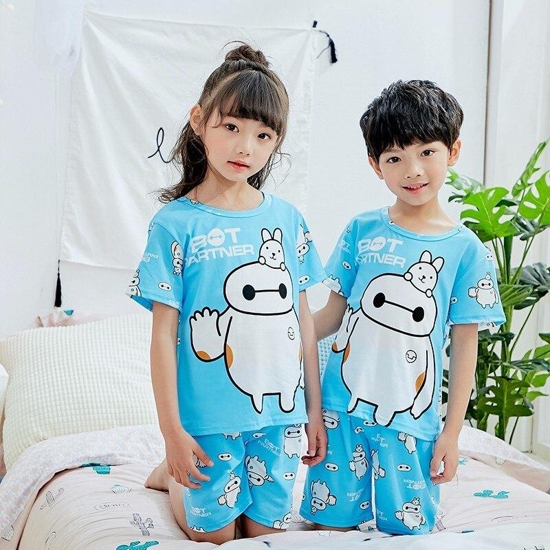 Factory Wholesale Summer 2018 New Children Boys Girls Kids Clothing   Sets   Cartoon Suit Sleepwear Short Sleeve Cartoon   Pajamas     Set