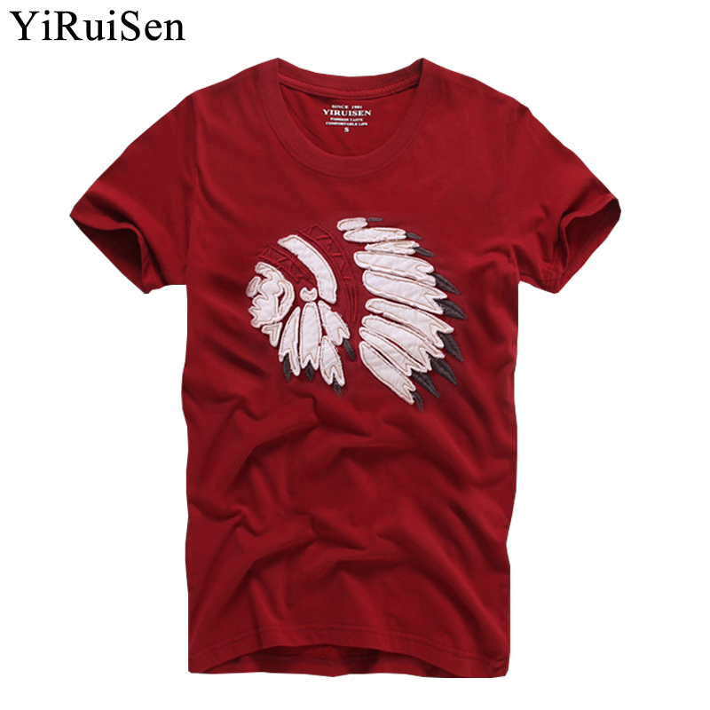 Indian Feather Headdress Patchwork Design T Shirt Men 100% Cotton Short Sleeve Fashion Top Tees Summer Clothing Tshirt Camisetas
