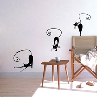 Cute Cat Wall Stickers , set of 5 funny cute cat vinyl wall decal stickers , Abstract pussy cat decoration p2037