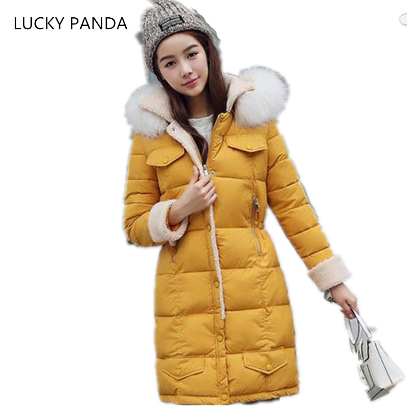 LUCKY PANDA 2016 WOMAN the new winter coat in the Korean version of women's fur collar down cotton cultivation  LKB021 2017 korean version of the thickening of female workers in the long coat lambskin coat winter coat large size coat