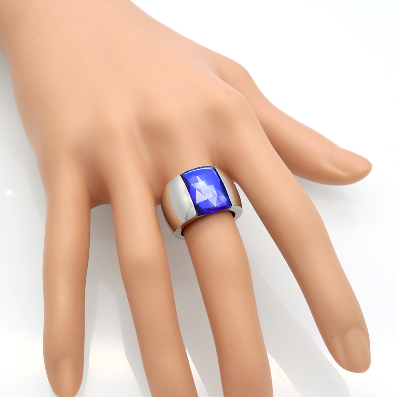 Punk hip hop glass crystal square wide face men women rings, charms 316l stainless steel anelli donna Widen ring men bijoux